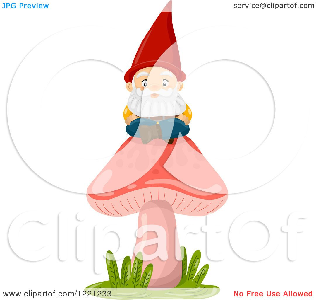 Gnome Clip Art: Clipart Of A Garden Gnome Sitting On A Red Mushroom