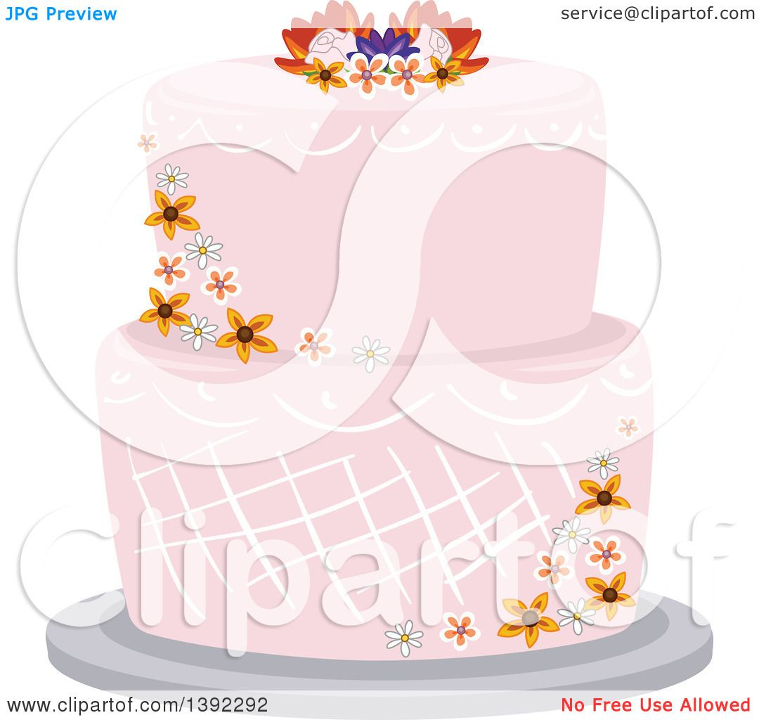 wedding cake vector clipart of a garden themed wedding cake with flowers 26758