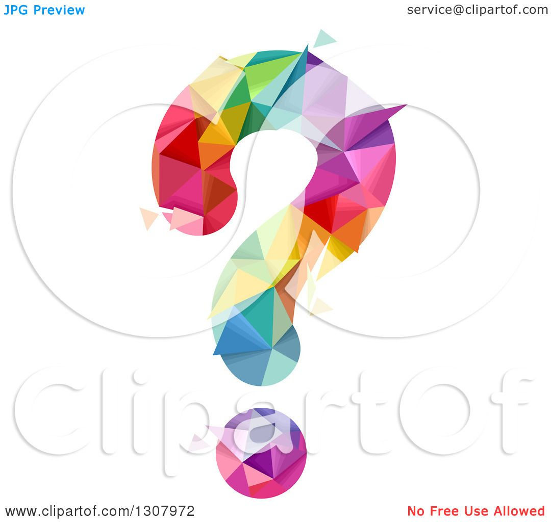 Does Question Mark Go Inside Quotes: Clipart Of A Geometric Colorful Question Mark