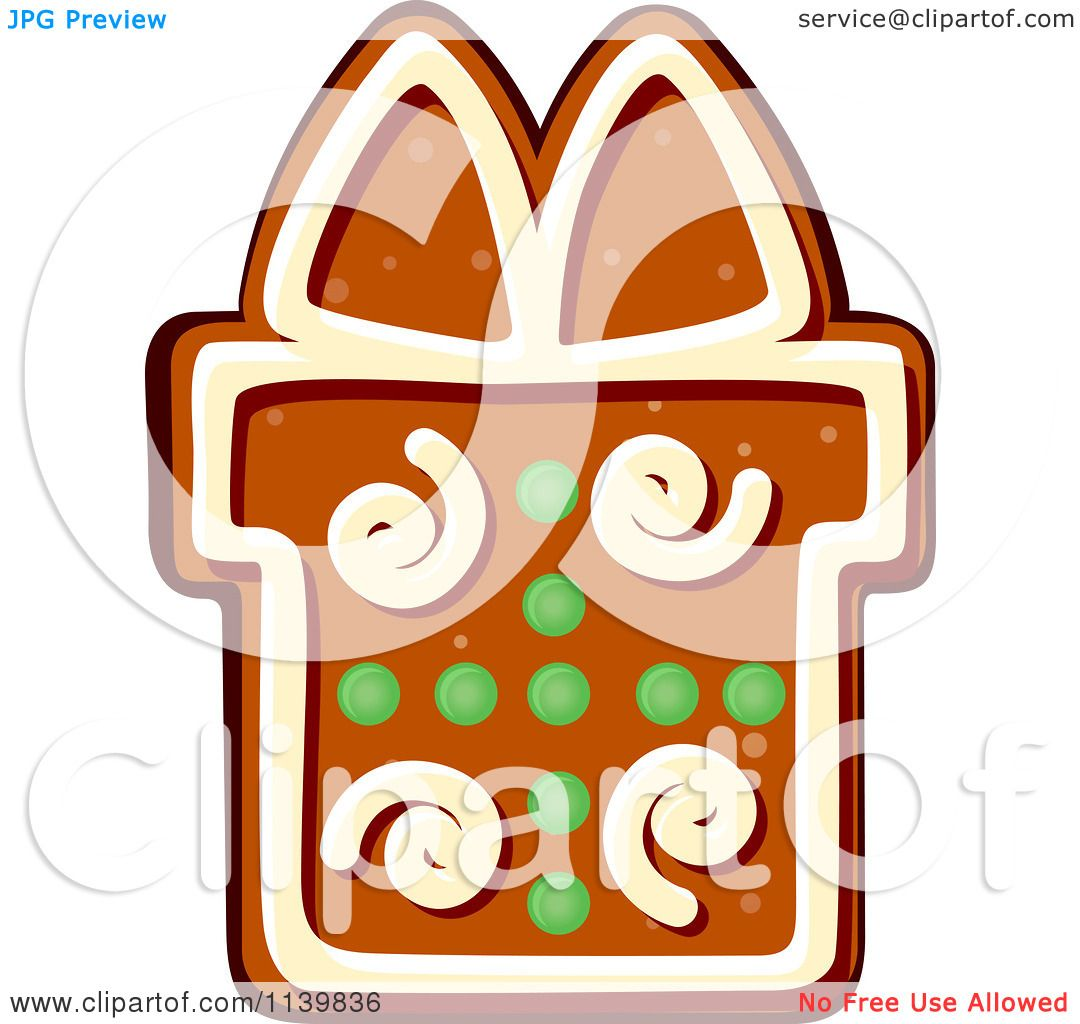 clipart of a gift gingerbread christmas cookie 1 royalty free rh clipartof com christmas cookie clip art free printable clipart christmas biscuits