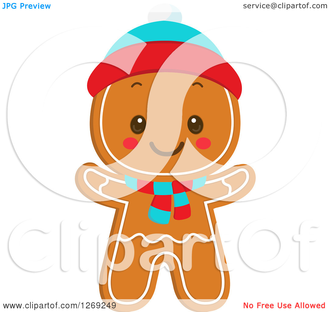 Clipart of a Gingerbread Boy Cookie Wearing a Hat and Scarf - Royalty ...