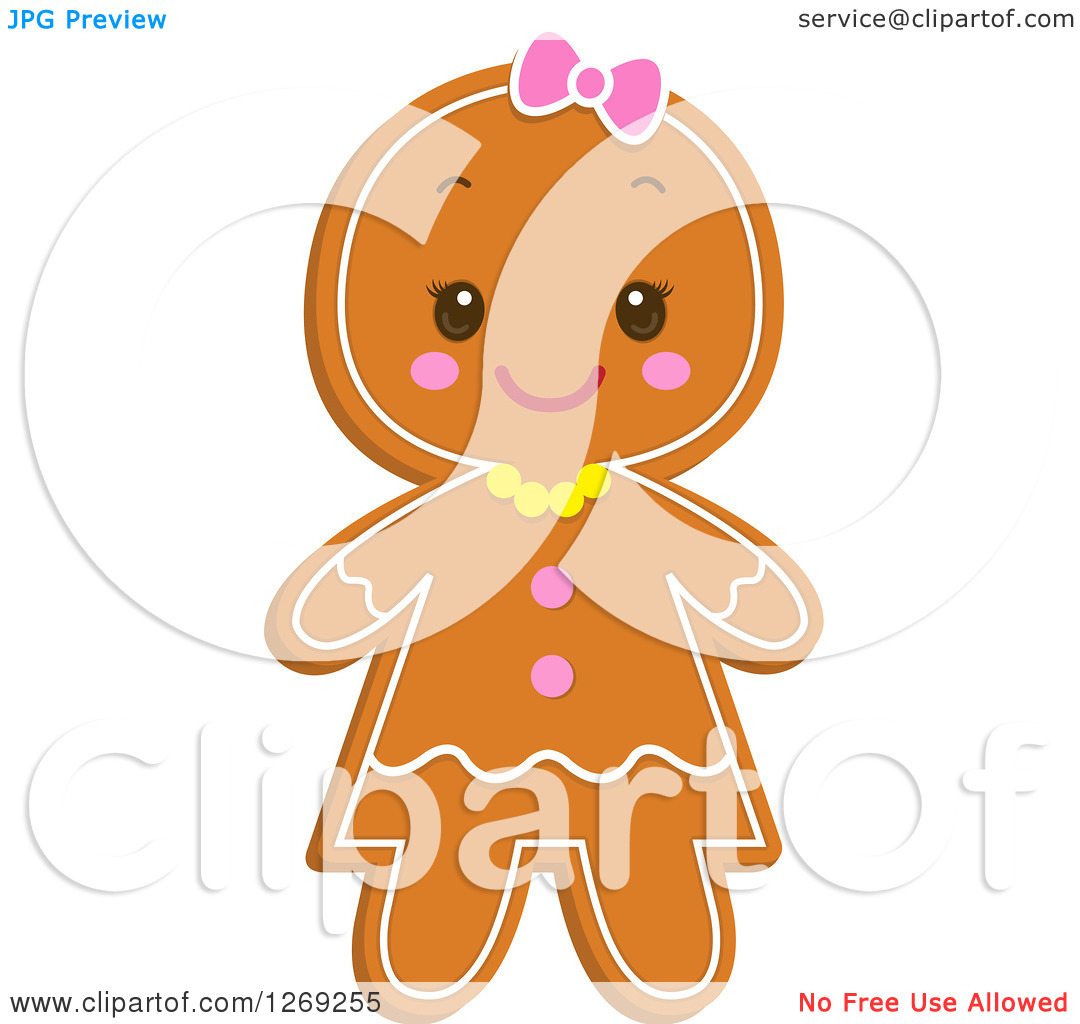 Clipart of a Gingerbread Girl Cookie - Royalty Free Vector ...