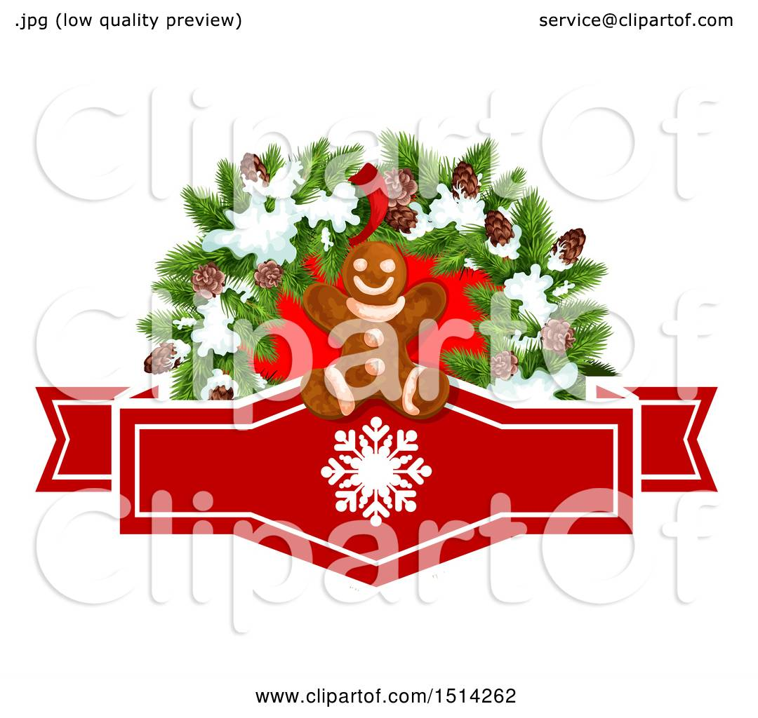 Clipart Of A Gingerbread Man And Christmas Wreath Over A Snowflake