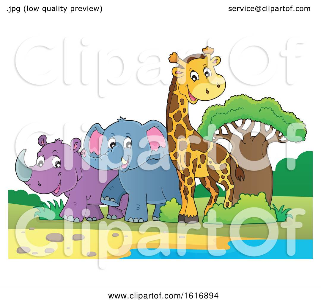 Clipart of a Giraffe Elephant and Rhinoceros - Royalty ...