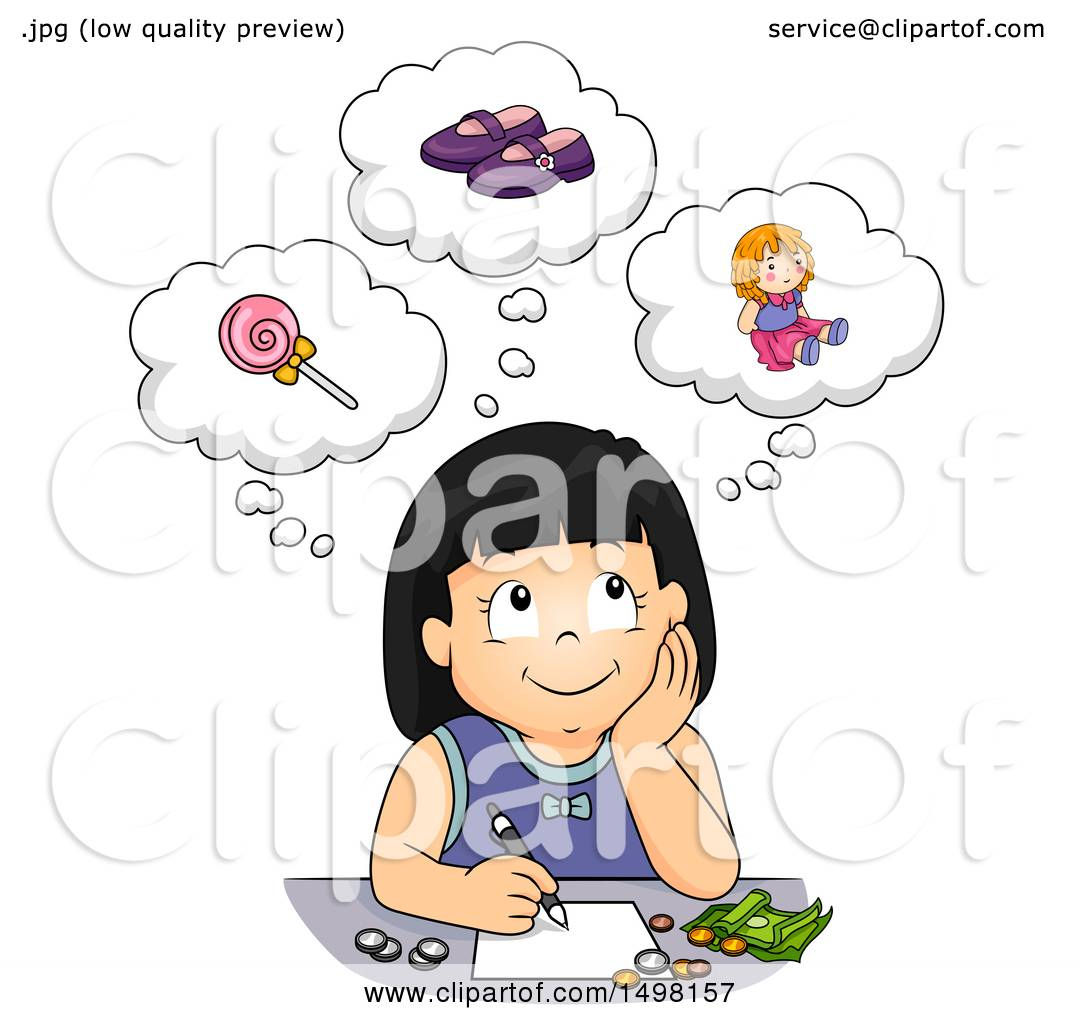 Cartoon of a Black and White Daydreaming Woman - Royalty ... |Daydreaming Cartoon