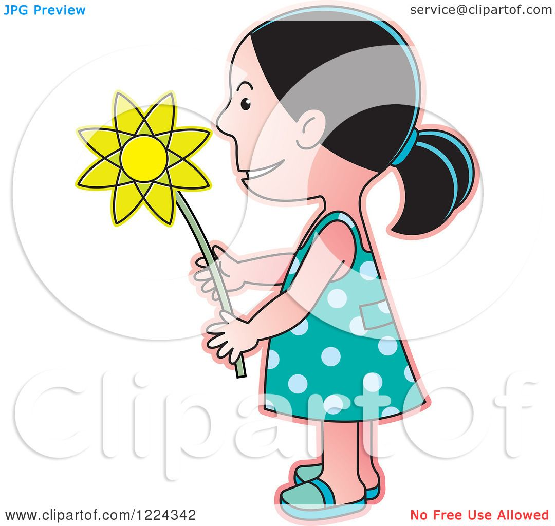 clipart girl holding flowers - photo #47