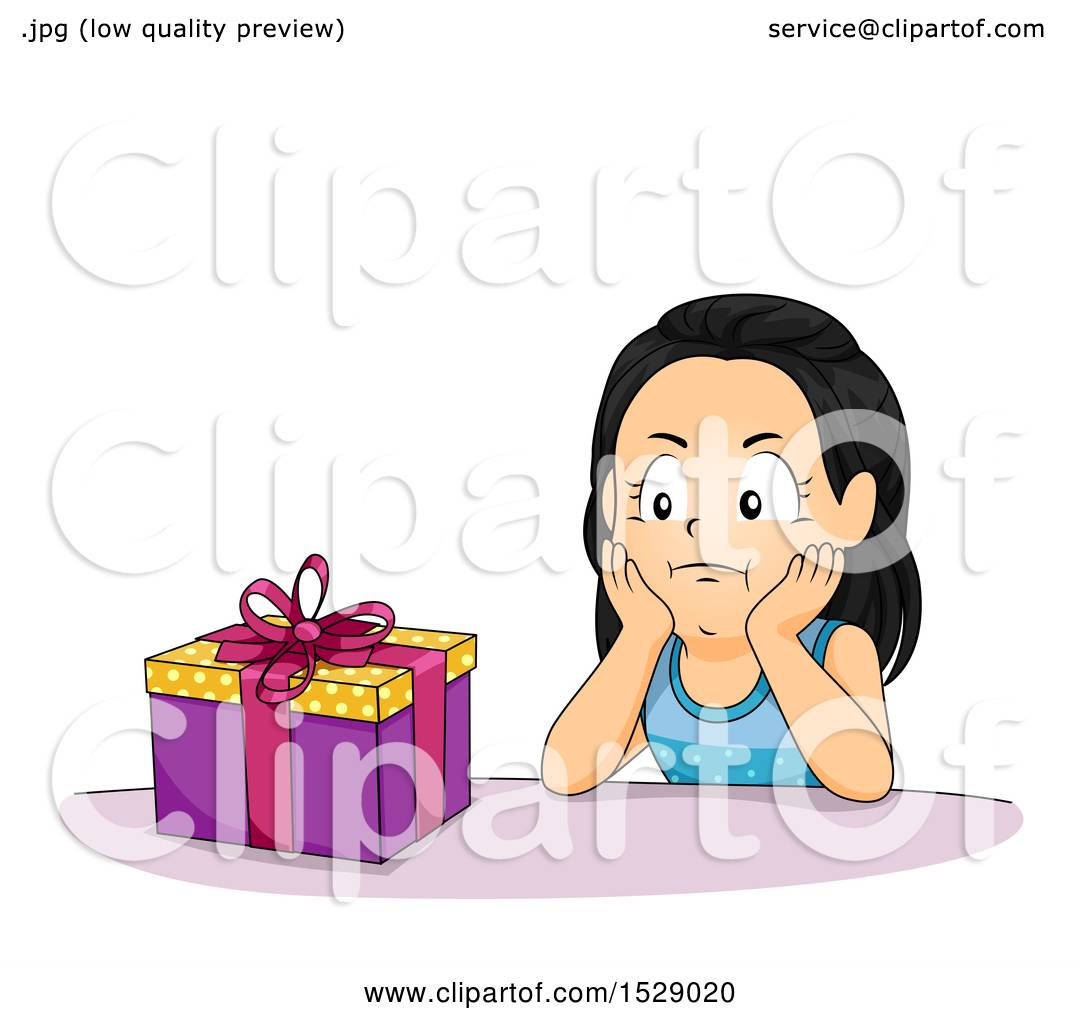 Clipart of a Girl Looking Impatient to Open Her Birthday ...