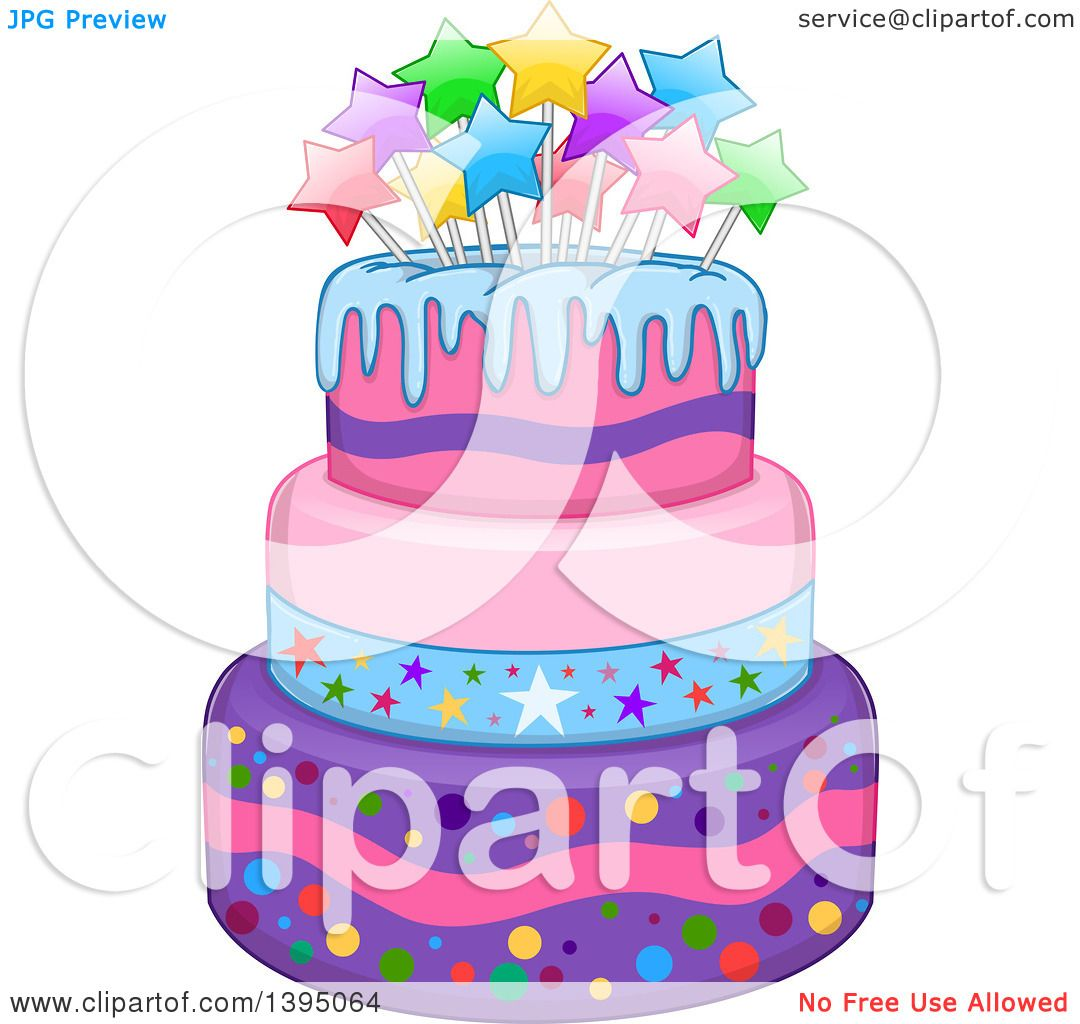 Marvelous Clipart Of A Girly Birthday Cake With Stars Royalty Free Vector Personalised Birthday Cards Veneteletsinfo