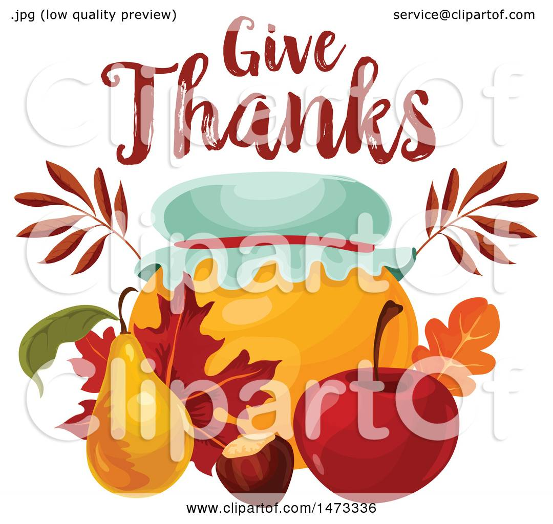 Clipart Of A Give Thanks Design Over A Honey Jar Royalty Free