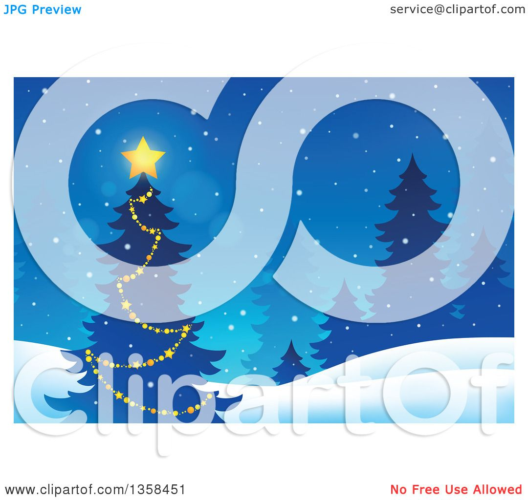 Outdoor Christmas Decorations Clipart: Clipart Of A Glowing Star On An Outdoor Christmas Tree