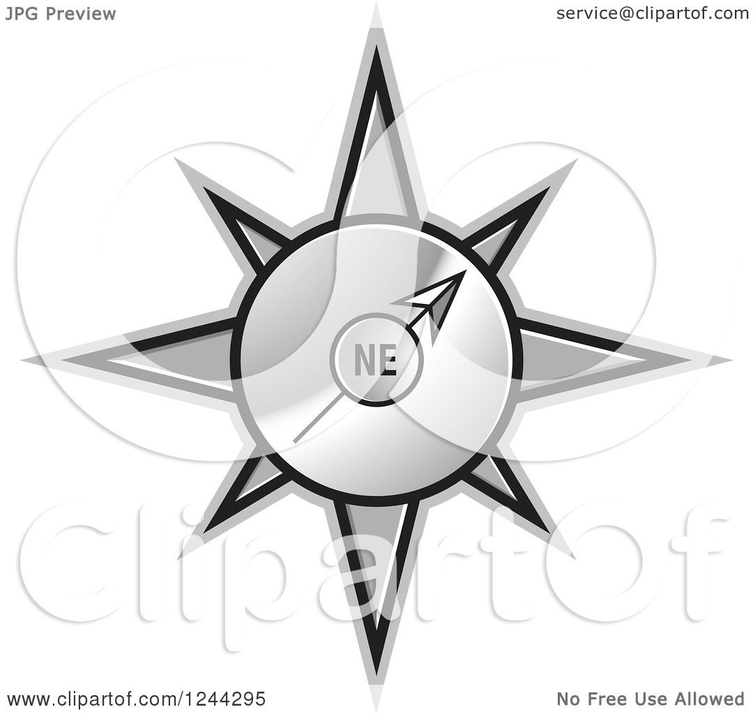 Compass Pointing East Tattoo Clipart of a Gold Compass