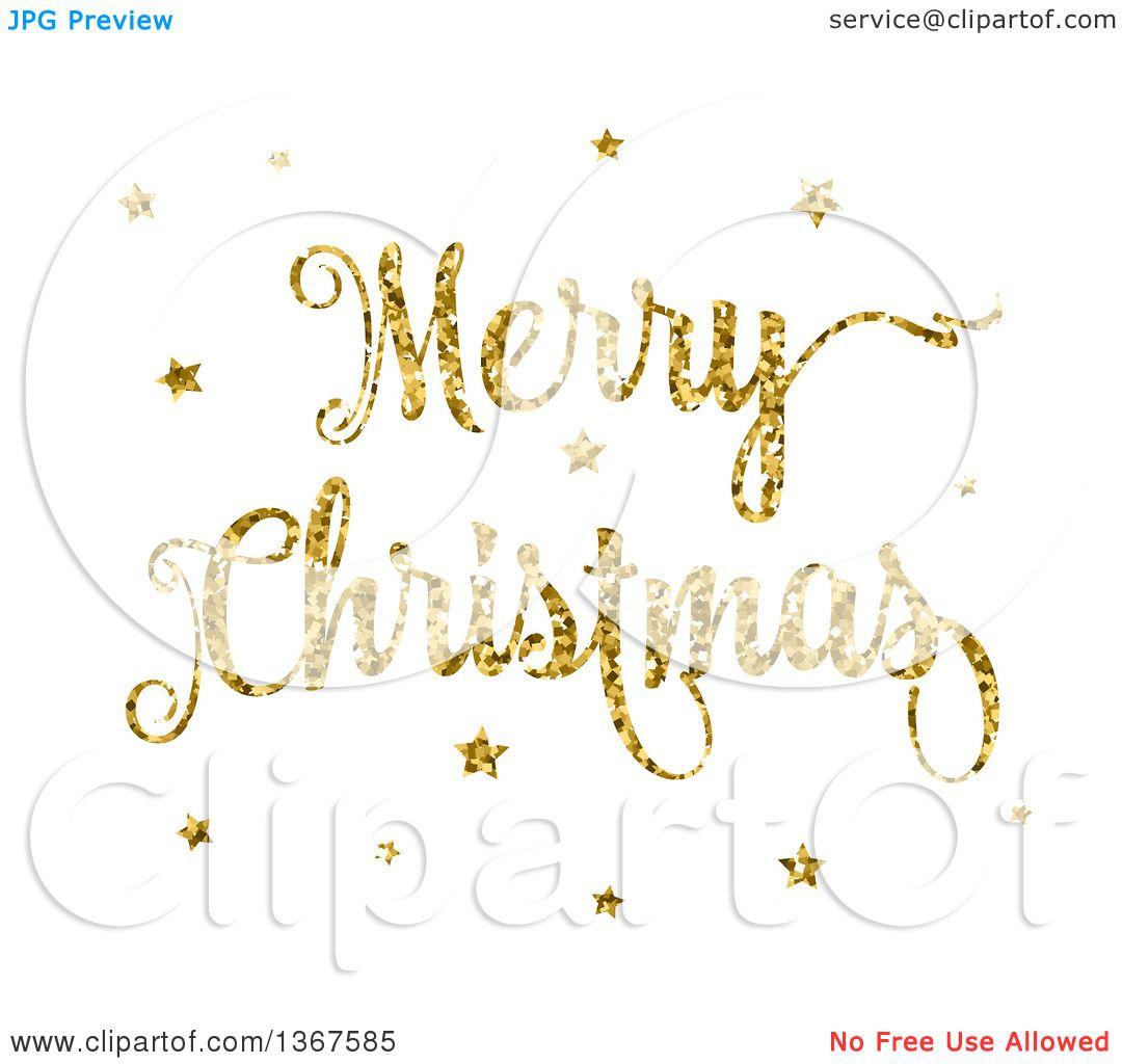 clipart of a gold glitter merry christmas greeting and stars white royalty free vector