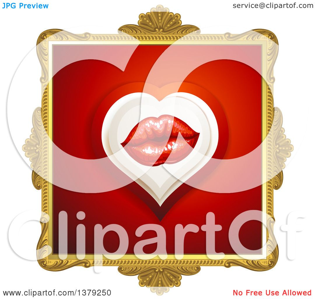 Clipart of a Gold Ornate Frame with Lips on Red - Royalty Free ...