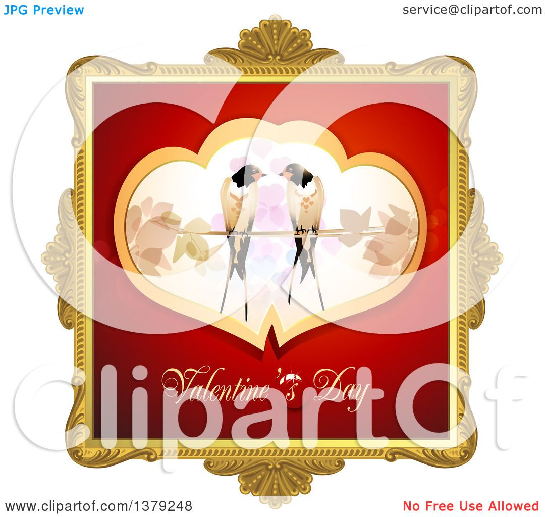 Clipart of a Gold Ornate Frame with Love Birds and Valentines Day ...