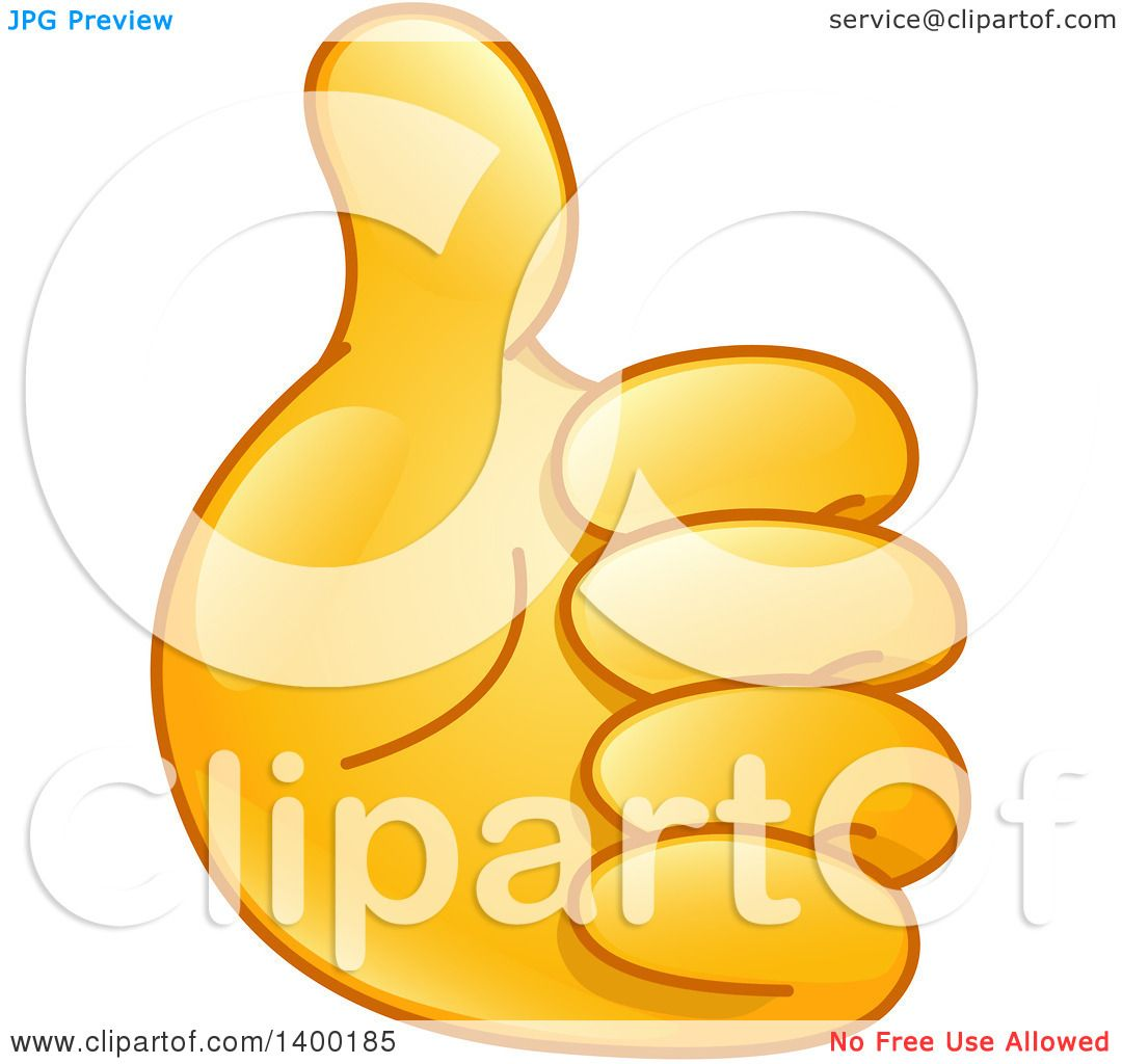 Clipart of a Gold Smiley Emoji Hand Holding a Thumb up ...