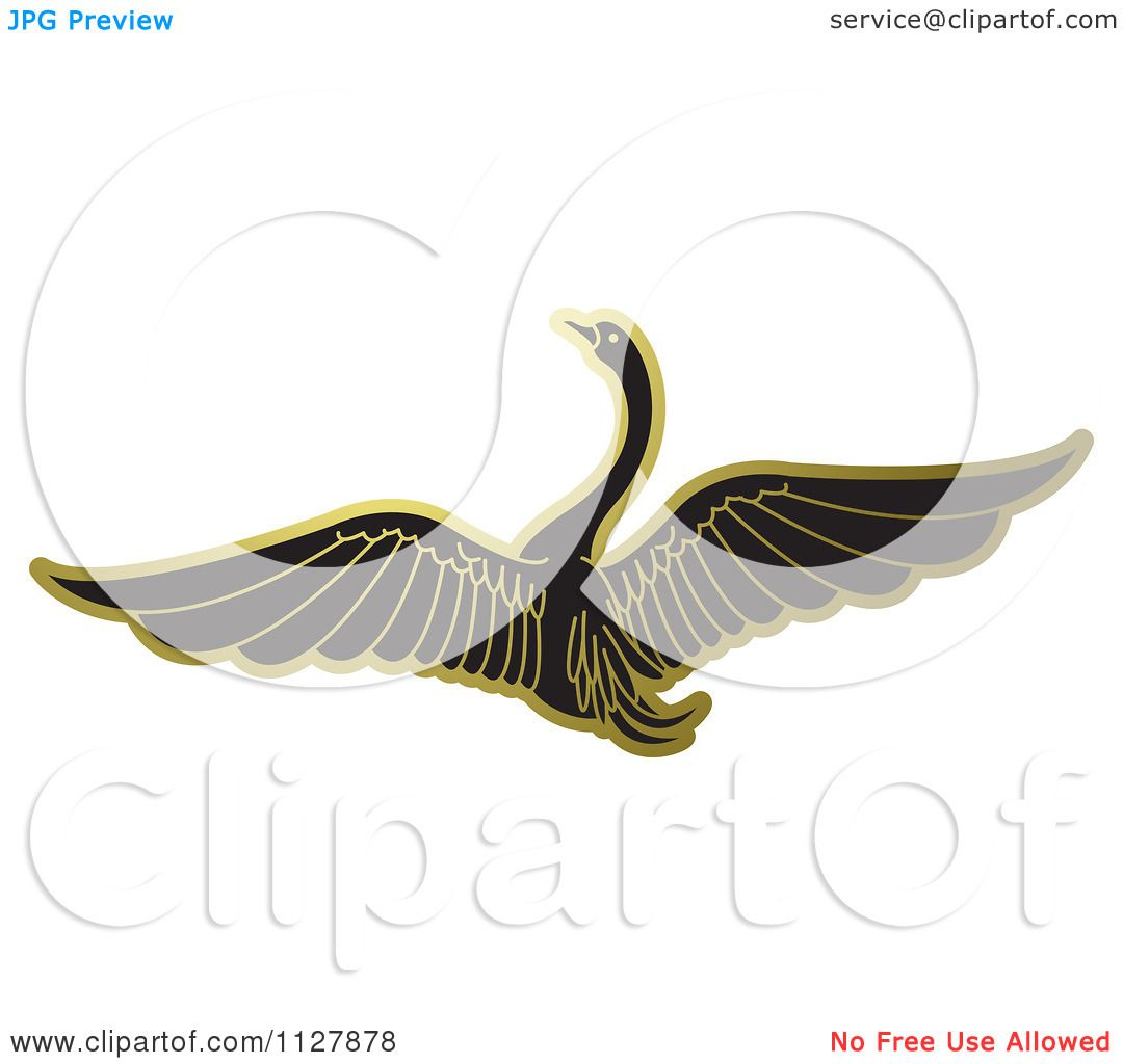 Clipart Of A Gold Swan Flying 1 - Royalty Free Vector ...