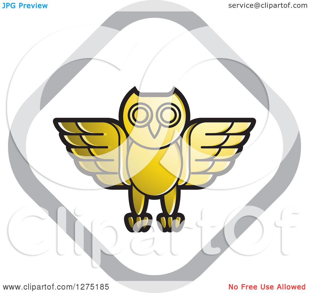 Clipart of a Gold White and Silver Diamond Owl Icon ...