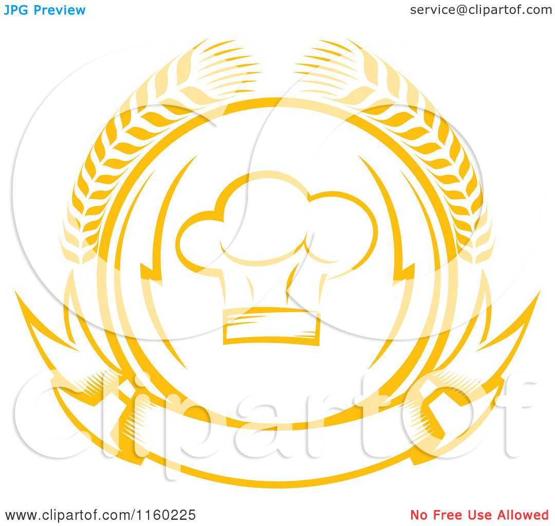 Clipart Of A Golden Chef Hat Wheat Laurel And Banner Logo Royalty Free Vector Illustration By