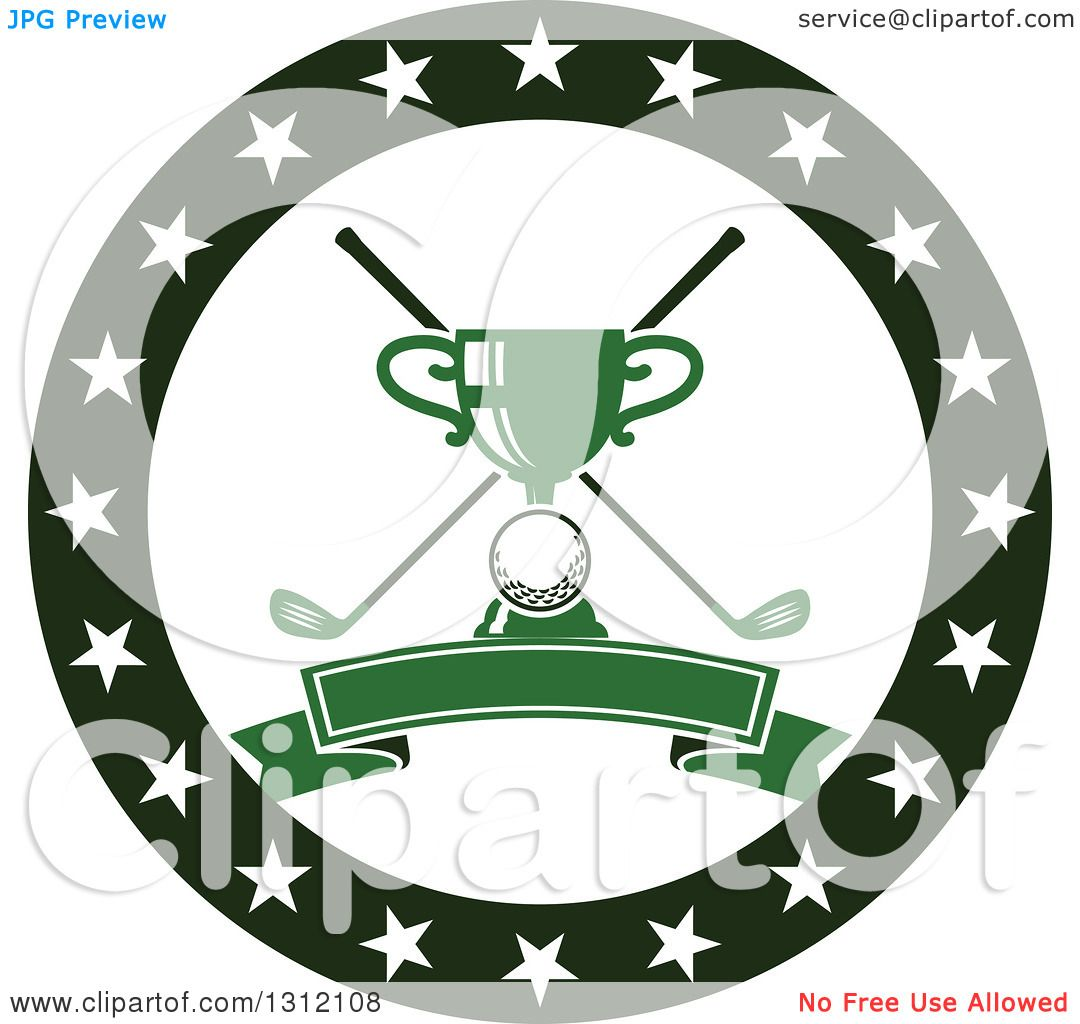 Clipart of a Golf Ball, Green Trophy and Crossed Clubs in ... Golf Ball And Club Clipart
