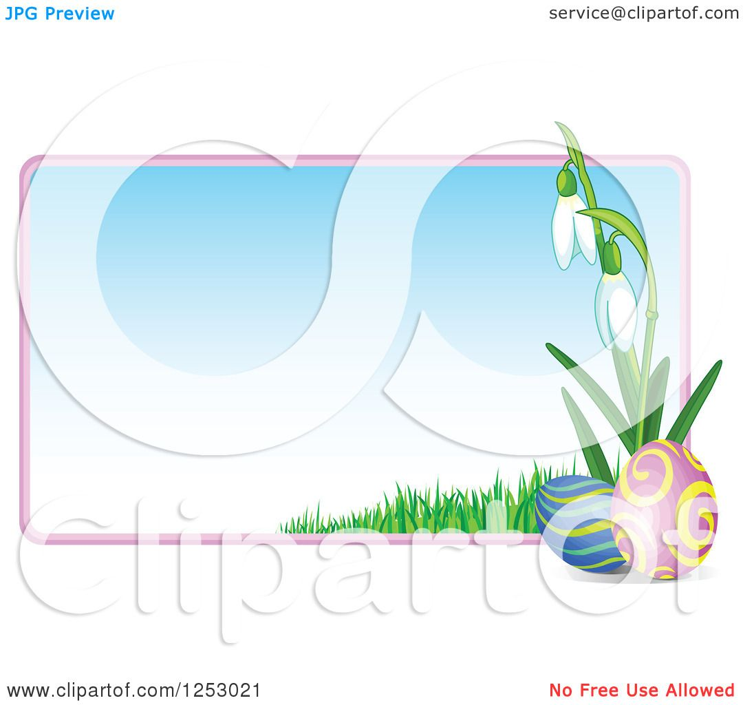 Clipart of a Gradient Easter Sign with Eggs and Snowdrop Flowers ...