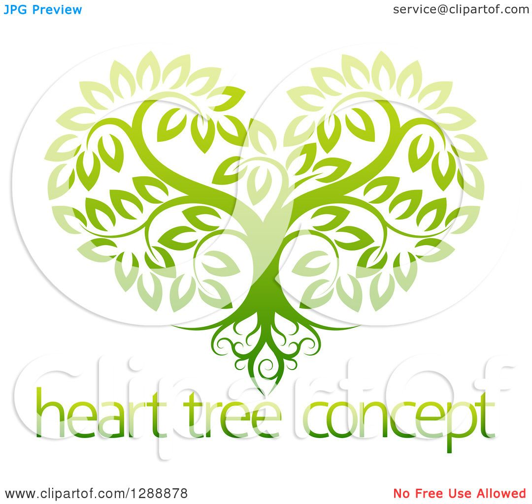 Clipart of a Gradient Green Heart Shaped Tree with Roots ...