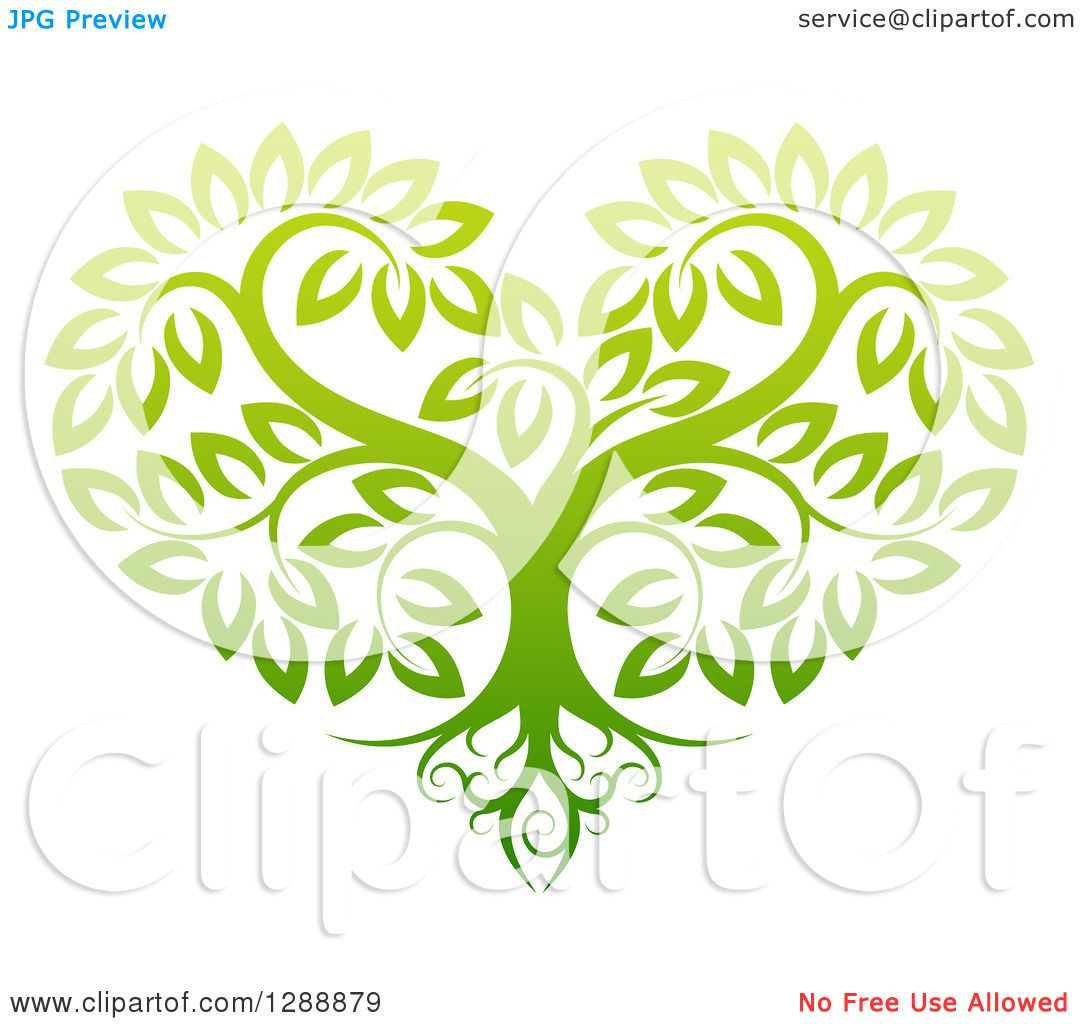 Clipart of a Gradient Green Heart Shaped Tree with Roots and Leafy ...