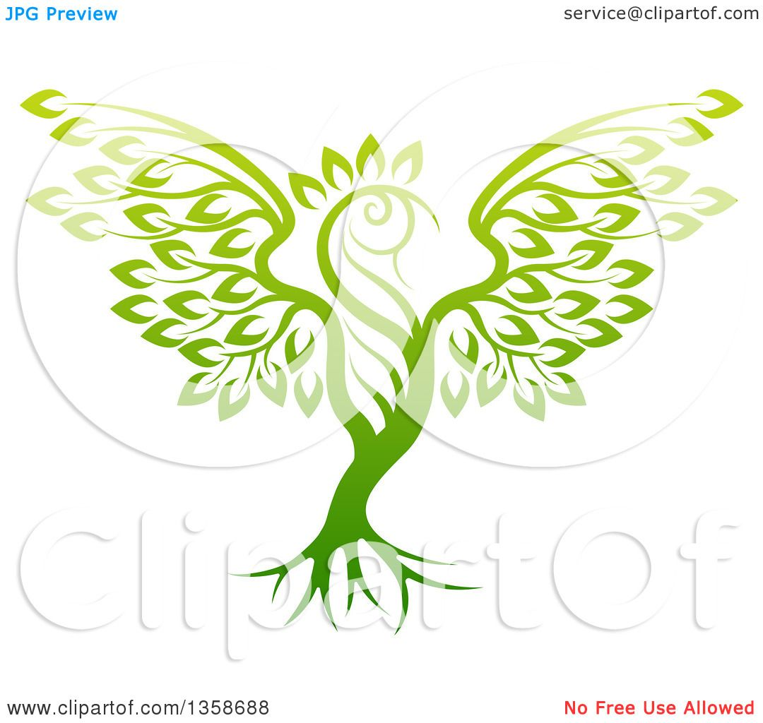 Clipart of a Gradient Green Tree in the Shape of a Phoenix Bird ...