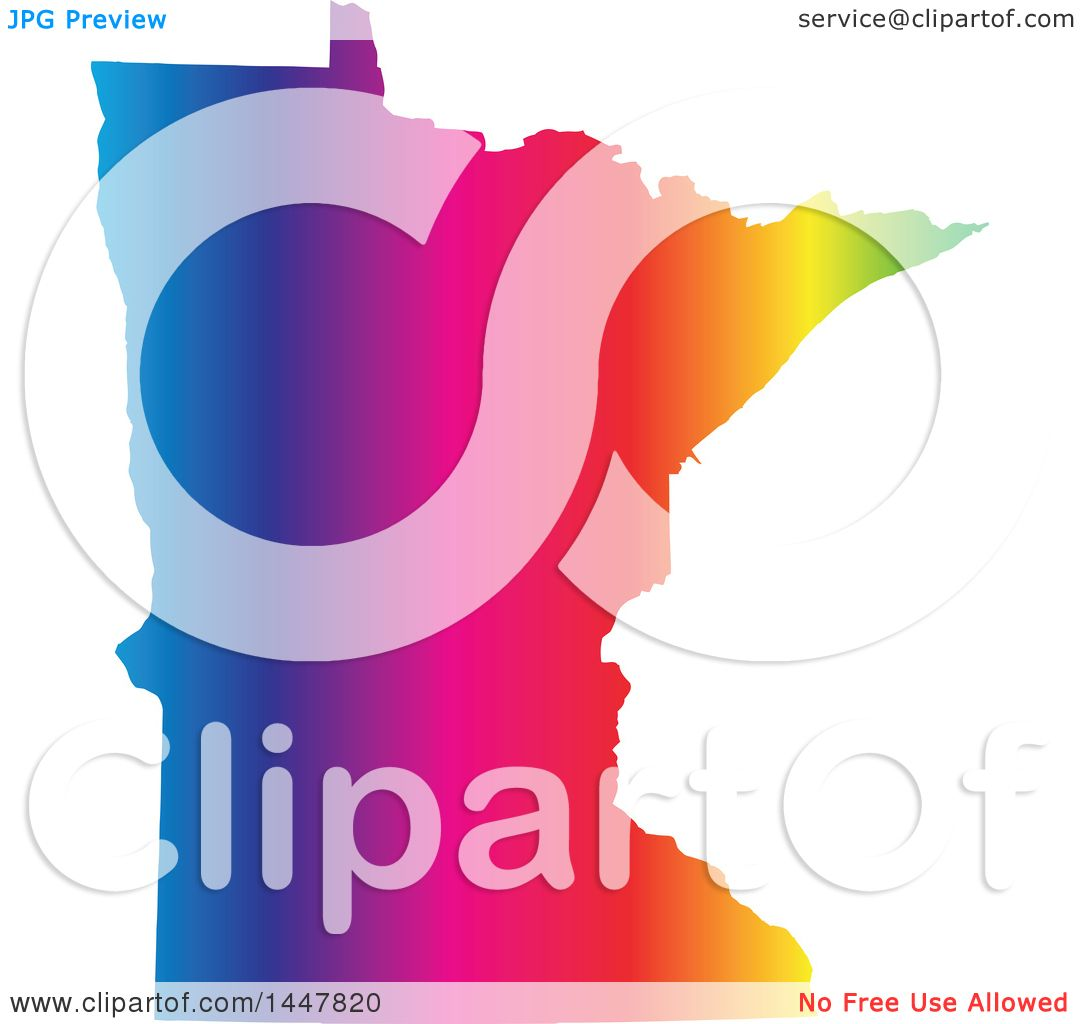 Map Of America Clipart.Clipart Of A Gradient Rainbow Map Of Minnesota United States Of