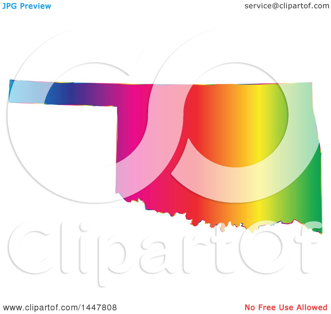 Clipart Of A Gradient Rainbow Map Of Oklahoma United States Of - Free united states map graphic