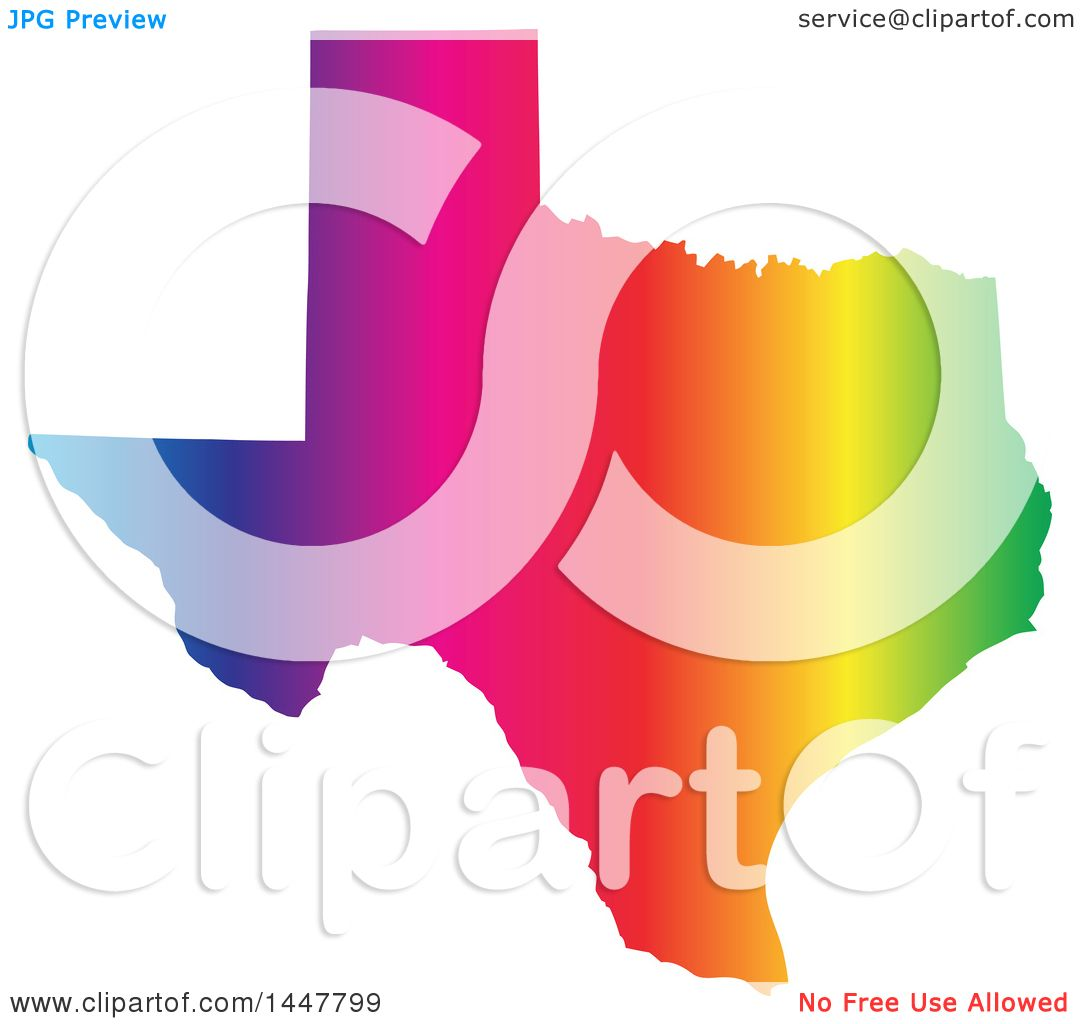 Map Of America Clipart.Clipart Of A Gradient Rainbow Map Of Texas United States Of America
