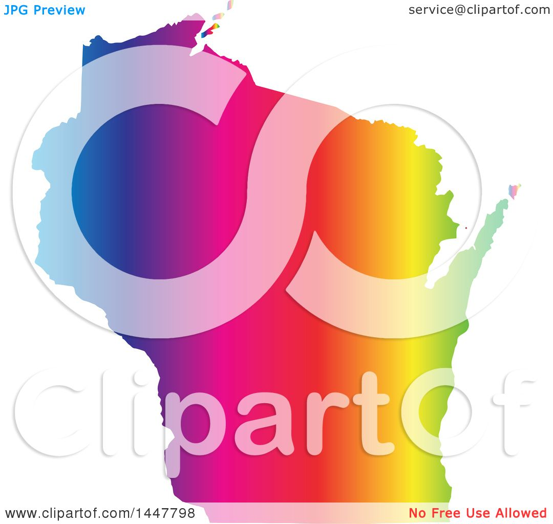 Clipart Of A Gradient Rainbow Map Of Wisconsin United States Of - Map of america wisconsin