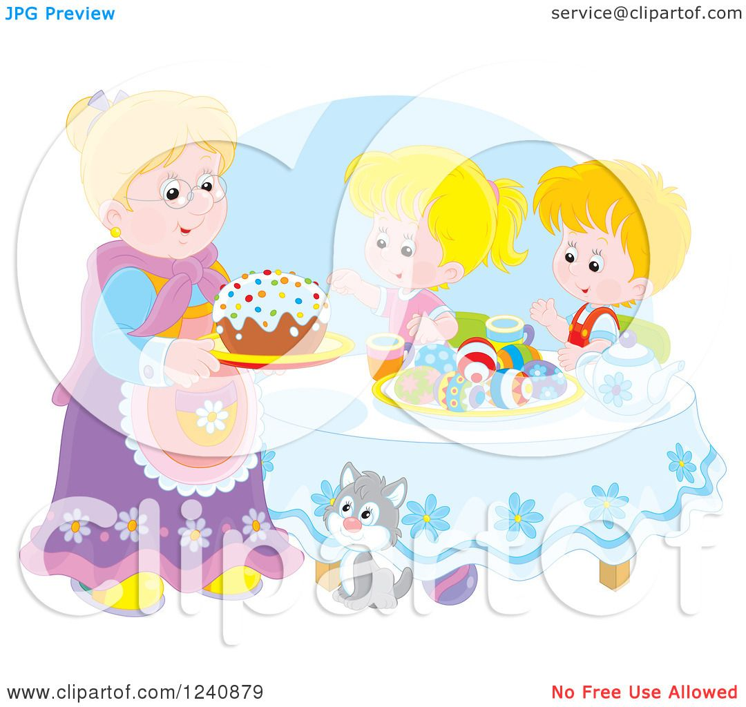 Clipart of a Granny Serving an Easter Cake to Children ...