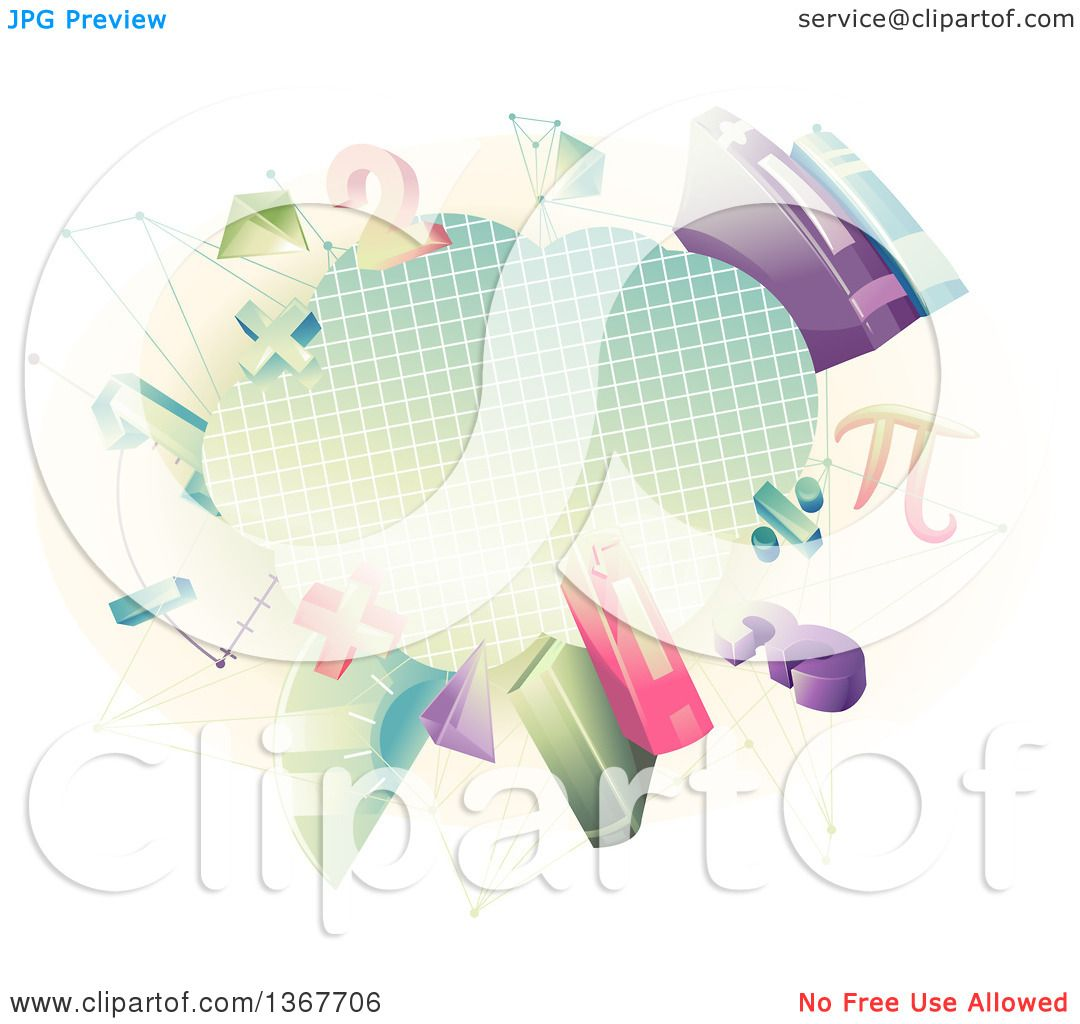 Clipart of a Graph Paper Cloud with Math Numbers, Shapes ...