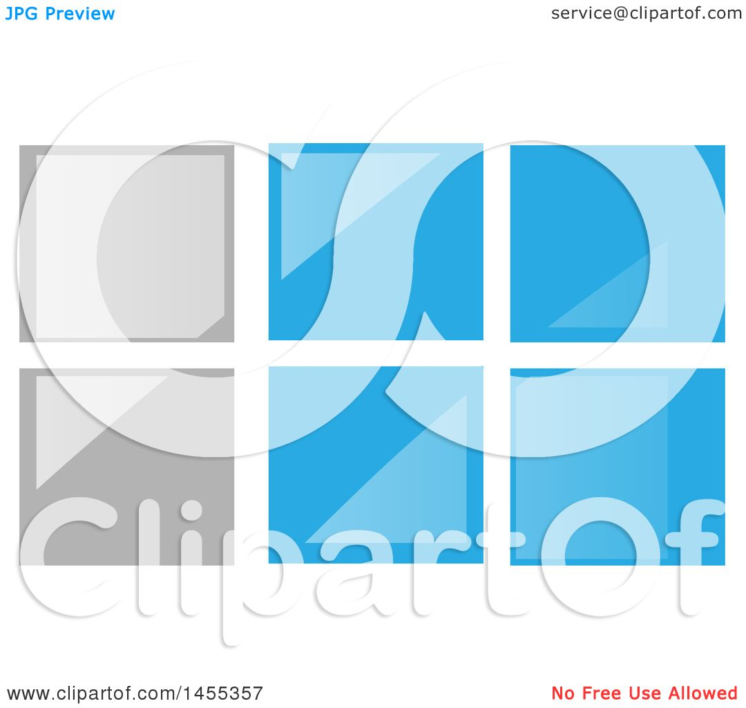 Clipart of a gray and blue glass tile or window design for Window design clipart