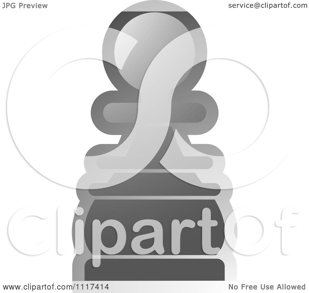 Clipart Of A Gray Pawn Chess Piece - Royalty Free Vector ...