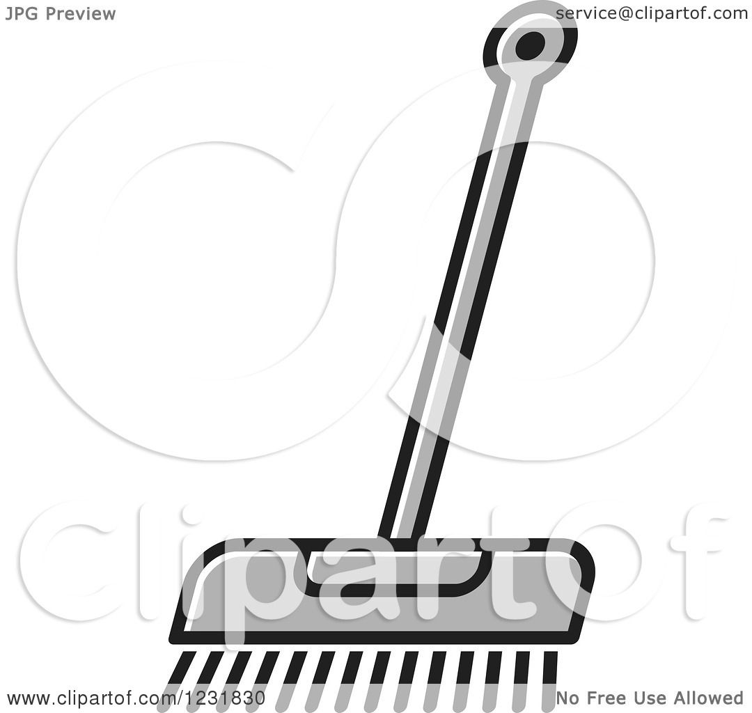 Clipart of a Gray Push Broom Icon - Royalty Free Vector Illustration