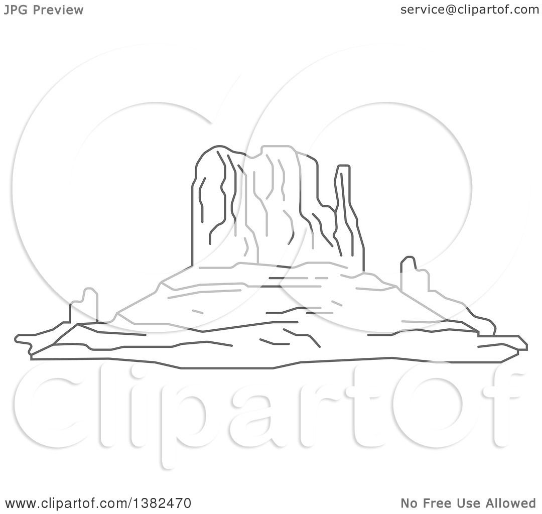 clipart of a gray sketch of the mittens rock formations in