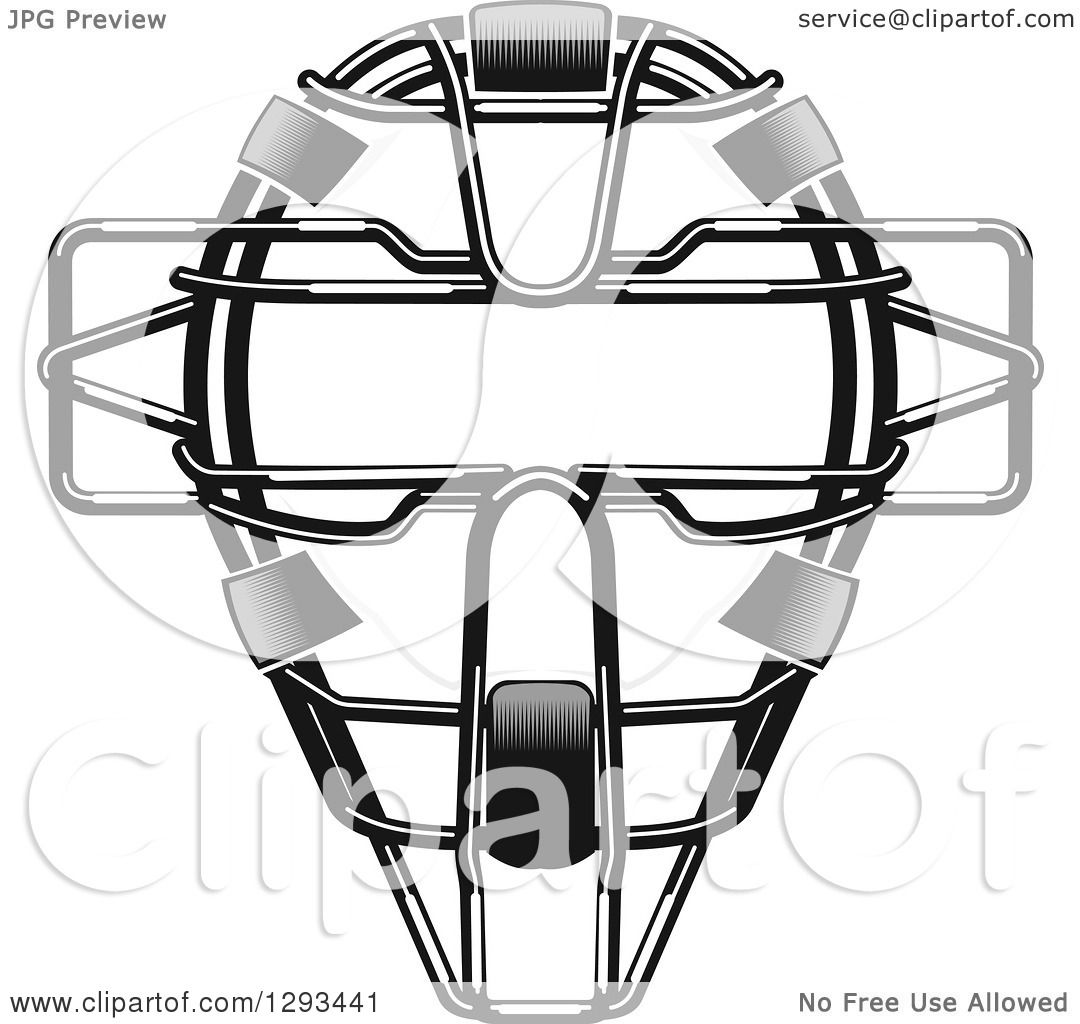 Clipart of a Grayscale Baseball Catchers Mask - Royalty ...