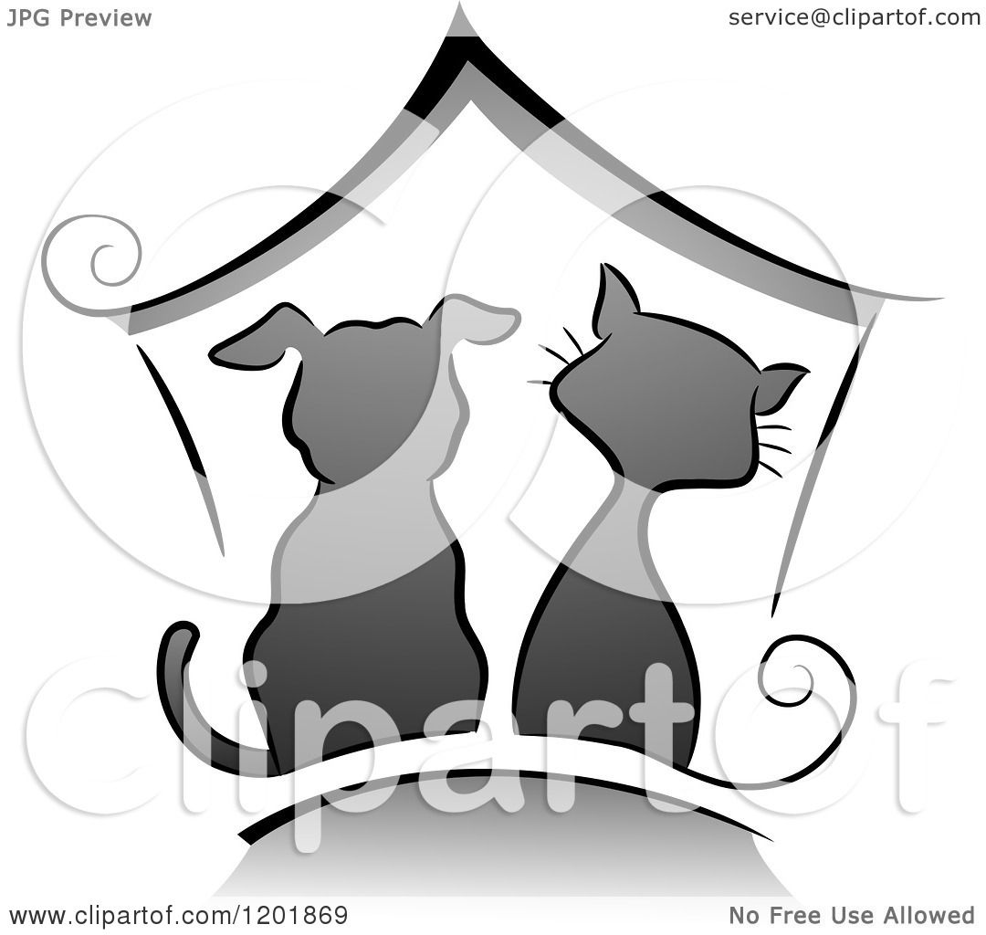 Clipart Of A Grayscale Cat And Dog Under A House Royalty