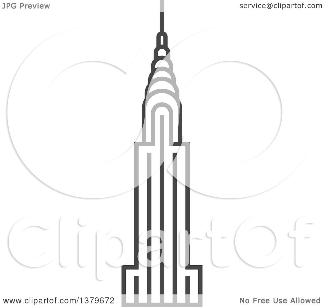 Clipart Of A Grayscale Chrysler Building Royalty Free