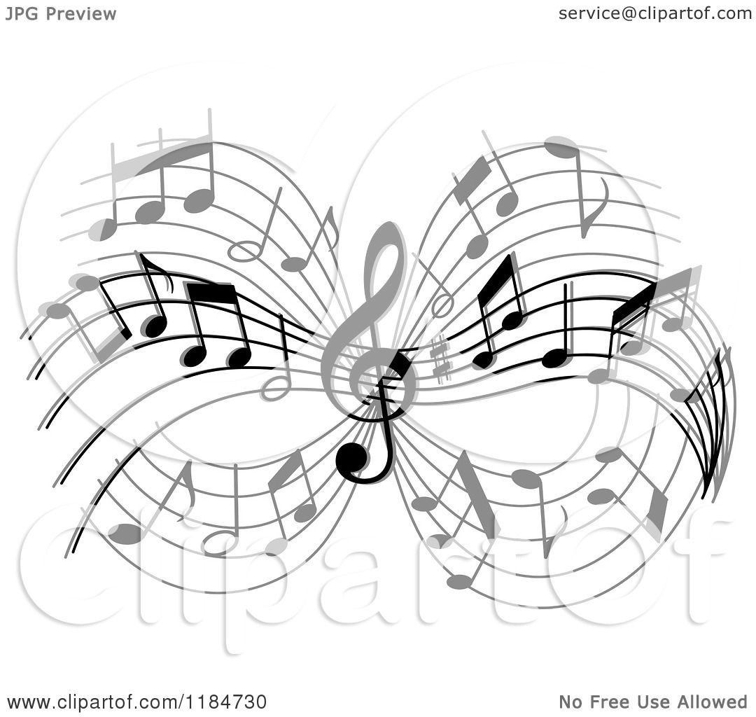 Clipart of a Grayscale Design of Music Notes Royalty