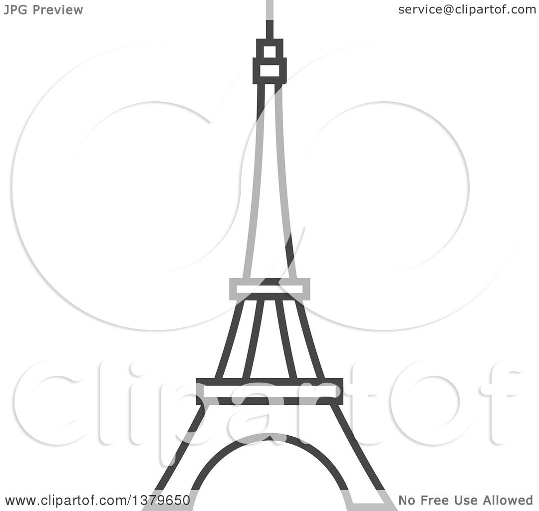 Clipart of a Grayscale Eiffel Tower