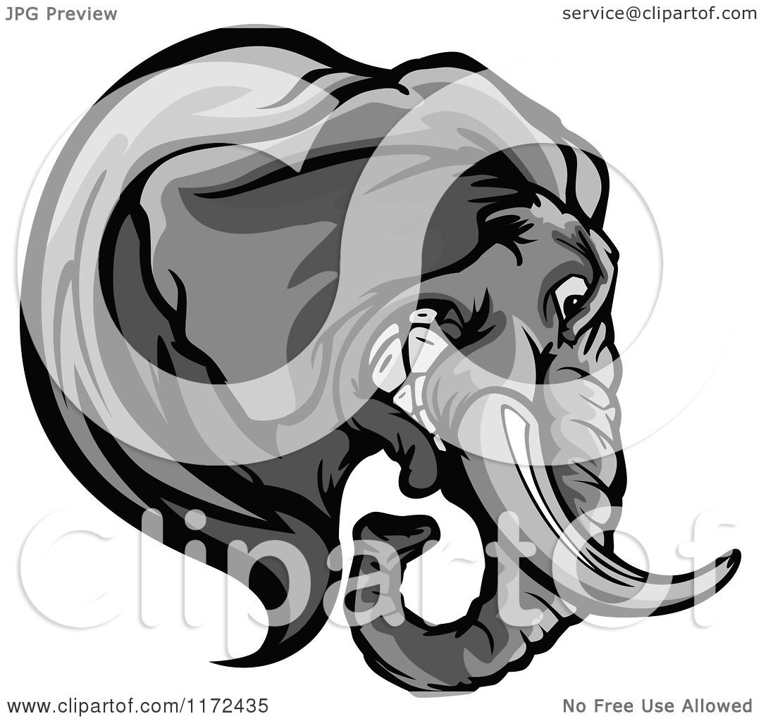 Clipart of a Grayscale Elephant Head in Profile - Royalty ...
