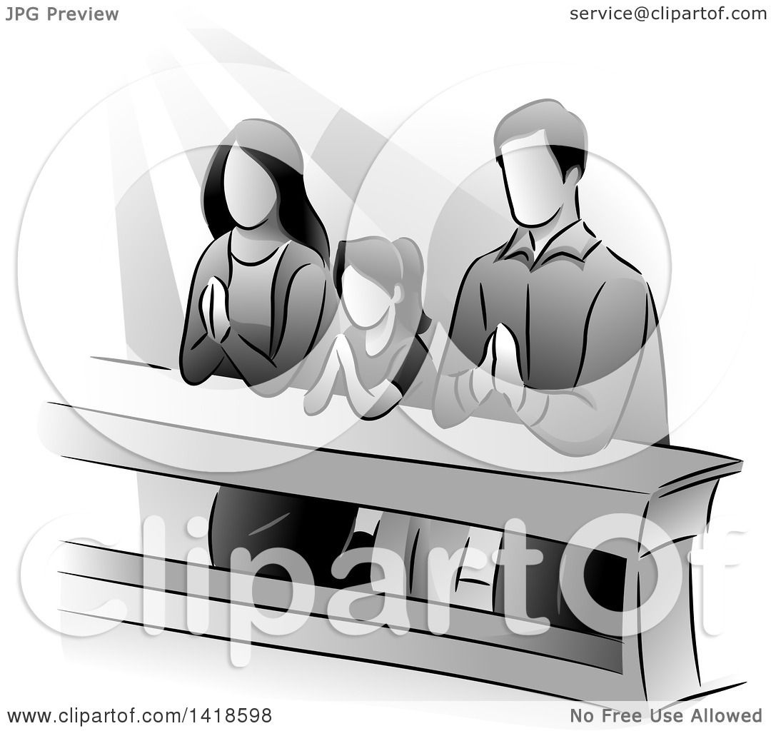 Clipart Of A Grayscale Family Kneeling And Praying Royalty Free