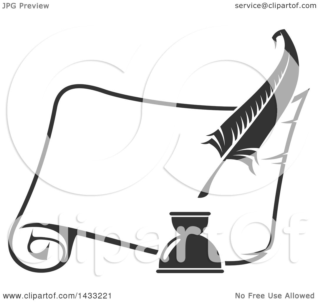 Clipart of a Grayscale Feather Quill and Scroll - Royalty ...