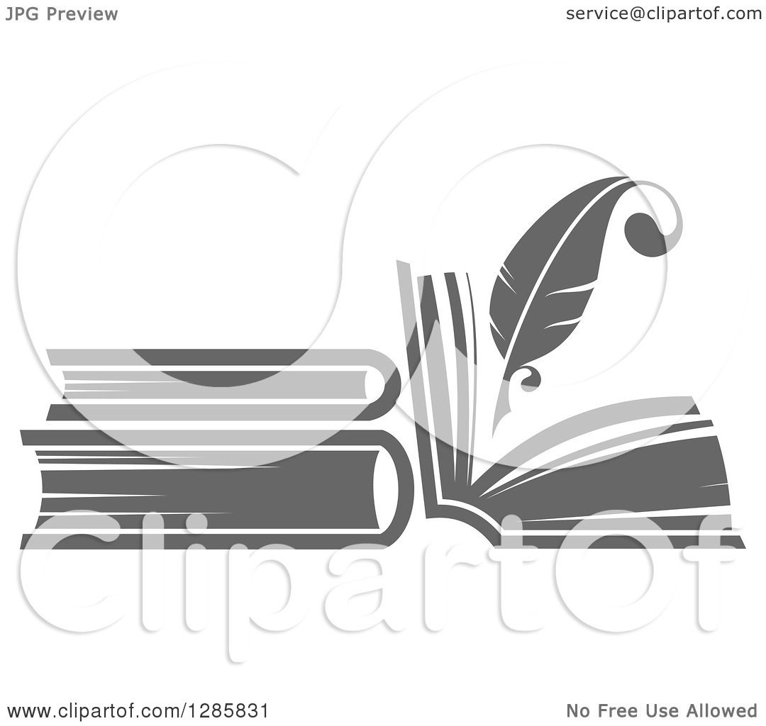 Clipart of a Grayscale Feather Quill Pen Writing in a Book