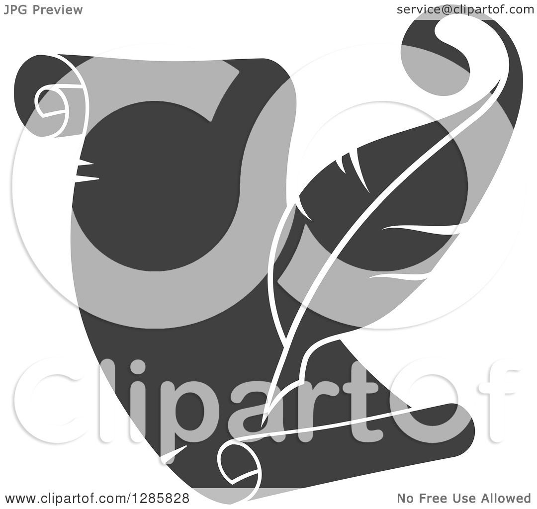 Clipart Of A Grayscale Feather Quill Pen Writing On A