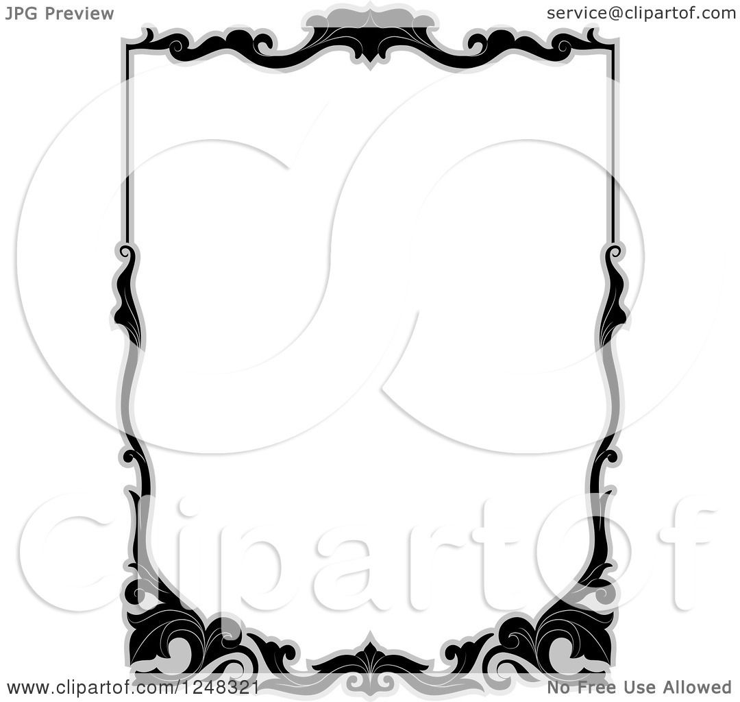 clipart of a grayscale floral filigree border royalty free vector rh clipartof com filigree clip art borders filigree clipart black