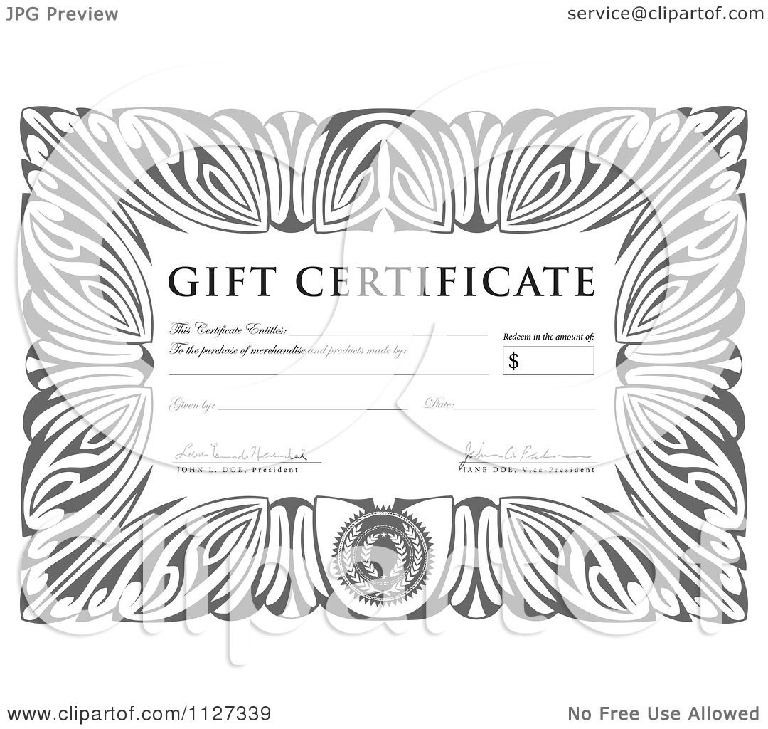 clipart of a grayscale gift certificate sample text royalty clipart of a grayscale gift certificate sample text royalty vector illustration by bestvector