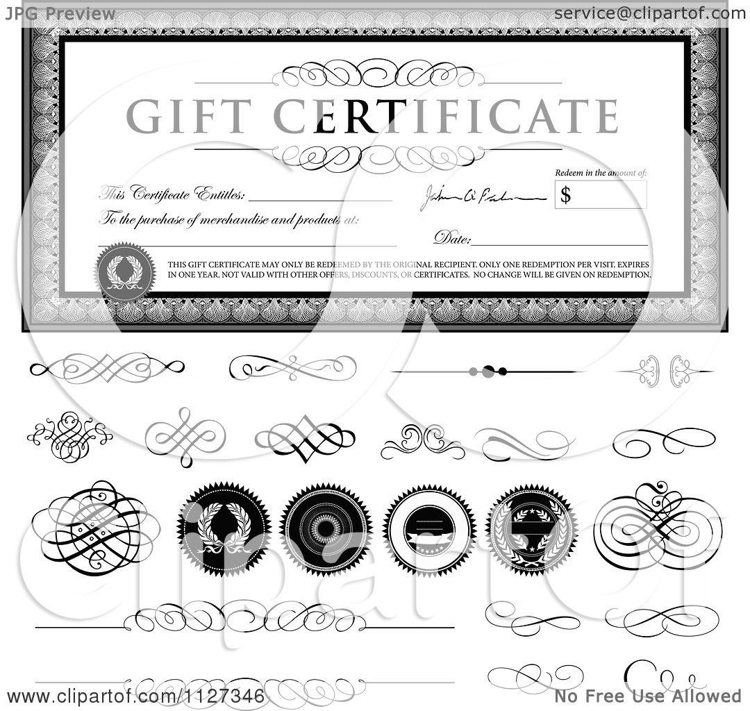 clipart of a grayscale gift certificate sample text swirls clipart of a grayscale gift certificate sample text swirls snd seals royalty vector illustration by bestvector